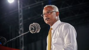 Oppositionskandidaten Ibrahim Mohamed Solih under ett valmöte i Maldivernas huvudstad Male den 8.9.