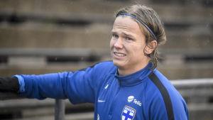 Petteri Forsell på fotbollslandslagets träningar i Borte Tölö i Helsingfors.