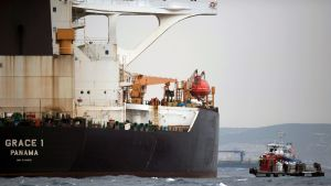 Den iranska supertankern Grace 1 efter att den stoppats utanför Gibraltar förra veckan.