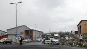 En polis och en polisbil utanför småhus i bostadsområdet Lintuhytti.