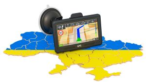 Ukrainas blågula flagga och en bilnavigator symboliserar IT-sektorns flytt från Belarus till Ukraina.