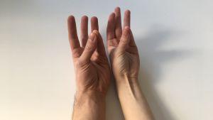 Kaksi kättä rinnakkain peukalo ja pikkusormi yhdessä