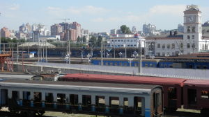 Vy över Kiev från järnvägsbro.