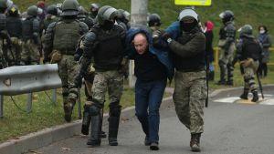 Man förs bort att poliser i Belarus 15.11.2020