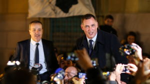 Ledarna för För Korsika-rörelsen Gilles Simeoni och Jean-Guy Talamoni