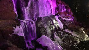 Violetilla sävyllä valaistu putouskallio Kotkan Sapokan vesipuistossa.
