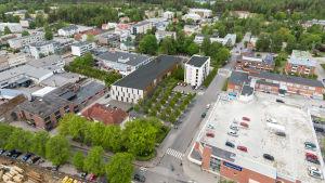 Illustration på byggnader sedda ovanifrån.