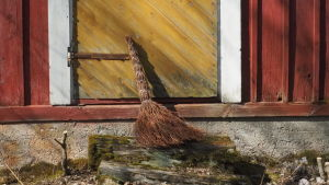 Risuluuta nojaa vanhan talon ovea vasten