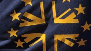 En pro-EU demonstrant bar på en EU-Union Jack-t-shirt under en demonstration mot Brexit i London 20. oktober 2018.