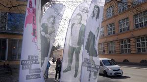 SU:s kandidater i EU-valet. Fr. v. Alina Böling, Niklas Mannfolk och Silja Borgarsdottír Sandeli
