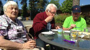 Ingegerd och Bjarne Berg och Per Thomasfolk testar glass.