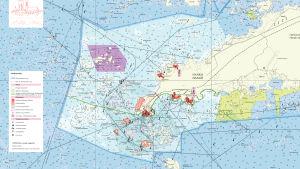 Karta över Hangö inklusive skärgård.