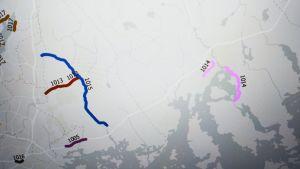 Karta över Östnyland, färggrannt markerade stäckor längs Söderkullavägen och några sträckor i Borgå.