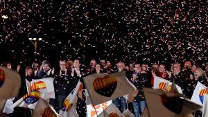 Ciudadanos ledare Ines Arrimadas och andra kandidater och partimedlemmar firar valresultatet i Barcelona.