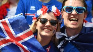 Isländska fotbollsfans under EM i Frankrike 2016.