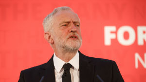 Labours ledare Jeremy Corbyn på en valtillställning inför valet 8.6.2017.