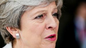 Storbritanniens premiärminister Theresa May på EU-toppmöte i Bryssel 23.6.2017