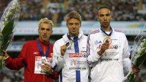 José Luis Blanco, Jukka Keskisalo och Bouabdellah Tahri på prispallen i Göteborg 2006.