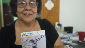 """Magaly Quintana är talesperson för """"katolska kvinnor för rätten att välja"""" och jämför Nicaraguas abortlagstiftning med rysk roulette."""