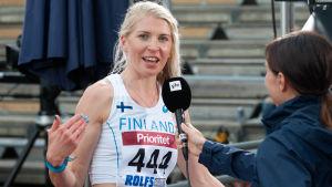 Sara Kuivisto intervjuas efter Sverigekampen 2017.