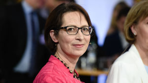 Sari Essayah i Helsingfors under kommunalvalet 2017, på valdagen den 9 april.