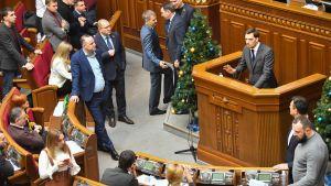 Hontjaruk fick ett blandat mottagande i parlamentet i Kiev på fredagen.