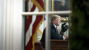 Donald Trump ses i Ovala rummet på en bild tagen utifrån, genom ett fönster.