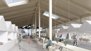 Projekteringsbild över saluhallens interiör på Borgå torg.