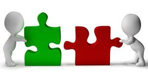 Två tecknade figurer skuffar på var sin pusselbit, en grön och en röd.Snart passar bitarna ihop.