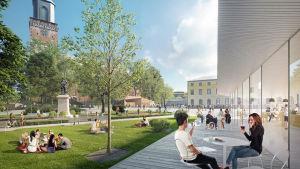 Vision på hur domkyrkotorget i Åbo kan se ut i framtiden.