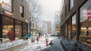 Vision över hur kvarteren kring Åbo Akademi ska se ut i framtiden.