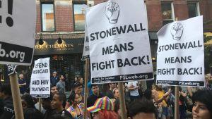 """""""Stonewall står för att slå tillbaka"""" är budskapet på ett demonstrationsplakat i New York,"""