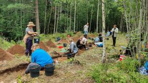 Människor vi en arkeologisk utgrävning i en skog.