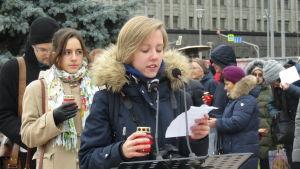 Minneshögtid för kommunistterrorns offer i Moskva.