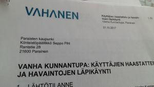 Ett brev till Seppo Pihl i Pargas stad om inomhusluften i Gamla Kommunalstugan.