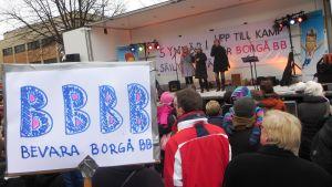 Plakat för att bevara Borgå BB
