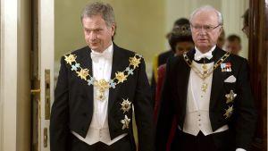 Niinistö och kung Carl XVI Gustaf.