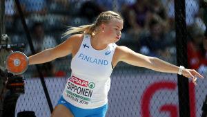 Salla Sipponen i diskusfarten.