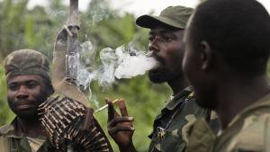 Kongolesiska soldater i djungeln.