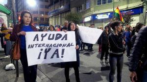 Bolivianska miljöaktivister demonstrerar mot president Evo Morales, vars politik anses ha förvärrat skogsbränderna i Bolivia
