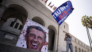 En demonstrant viftade med en kampanjflagga för återval av Trump utanför stadshuset i Los Angeles. Nidbilder på Kaliforniens guvernör Gavin Newsom förekom vid alla demonstrationer i Kalifornien på fredagen.
