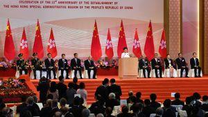 Hongkongs ledare Carrie Lam håller tal i samband med firandet av Hongkongs 23:e år som del av Kina efter det brittiska överlämnandet och införandet av en ny säkerhetslag 1.7.2020