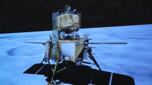 Rymdsonden Chang'e-5 då den landade på månen.