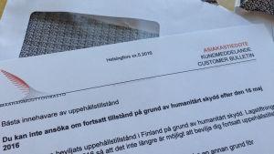 Migrationsverkets brev till personer som beviljats uppehållstillstånd med humanitärt skydd som grund. Brevet berättar att lagen har förändrats den 16 maj 2016 och att de inte längre kan ansöka om förlängt uppehållstillstånd med samma grund.