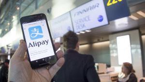 Alipays logotyp på en telefon framför Finnairs incheckningsdesk.