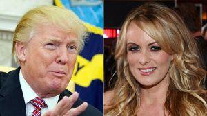 Kombination av varsitt foto på Donald Trump och Stormy Daniels.