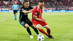 Lucas Vazquez skuggar Franck Ribery i Champions League.
