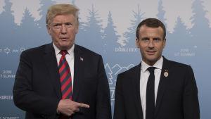 Donald Trump och Emmanuel Macron under G7-mötet i Kanada.