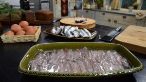 Silakkafileitä lautasella sitruunaliemessä keittiössä.