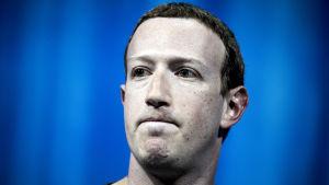 Facebooks grundare och vd Mark Zuckerberg med spänd min mot blå bakgrund.